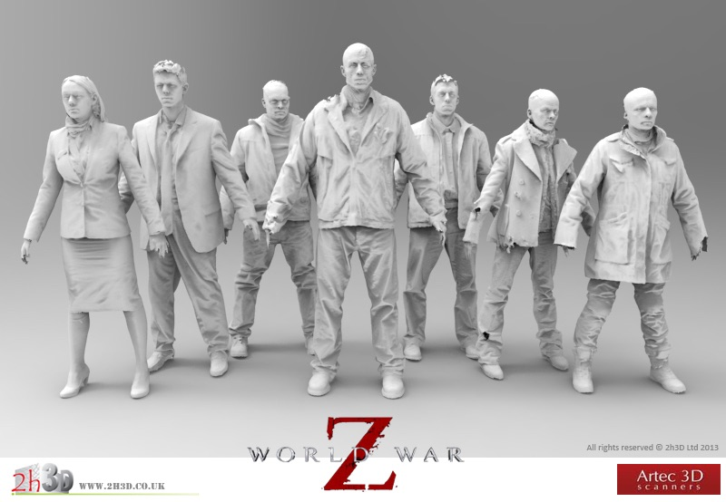 Zombie 3D models for World War Z made with Artec scanners